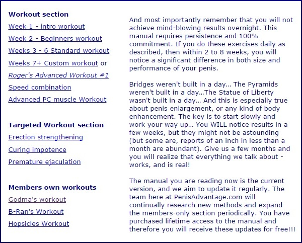 Workout Section of Penis Advantage Program