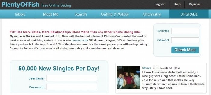 Plenty of fish free dating site