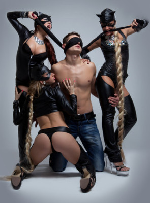 Three Dominant Girls Posing As Dominatrix