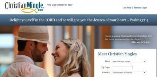 Screenshot Of Christian Mingle Website