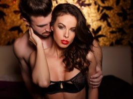 sexy young couple during foreplay