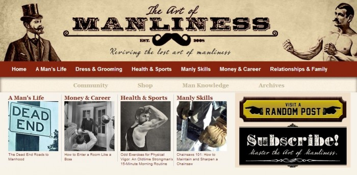 homepage of the Art of Manliness