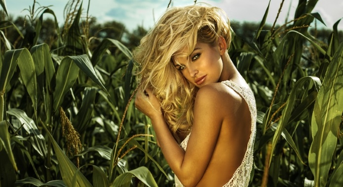 the sexy blonde russian woman in field