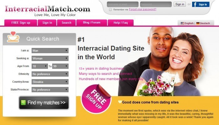 Screenshot Of Interracial Match Site
