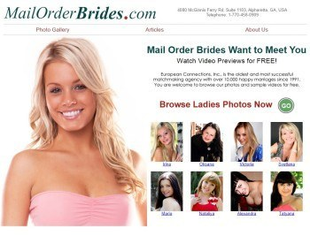 Screenshot of MailOrderBrides Website