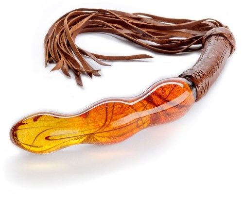 glass dildo with leather whip