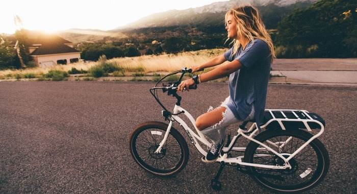 hipster woman on bike