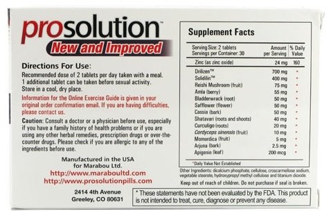 back label of prosolution pills