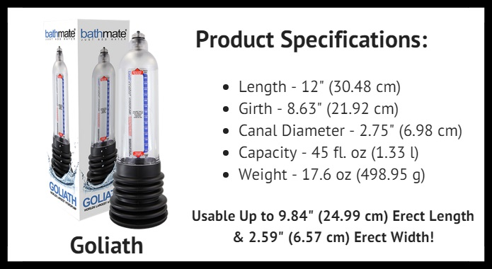BathMate Goliath product specifications