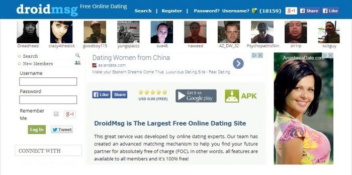 DroidMSG website for dating