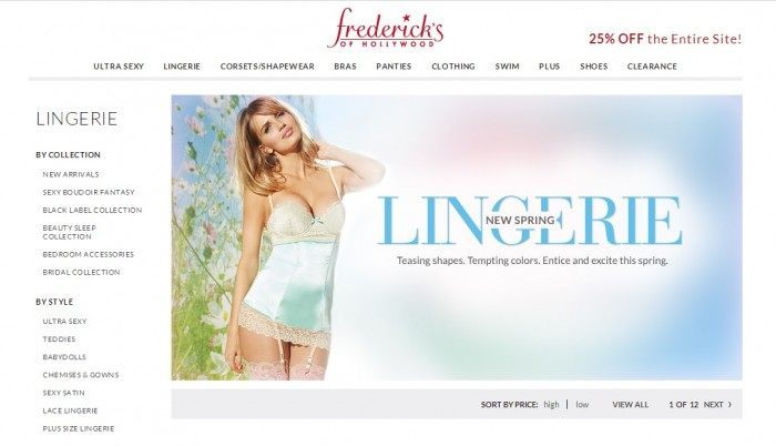 Screenshot Of Fredericks Of Hollywood Lingerie Shop