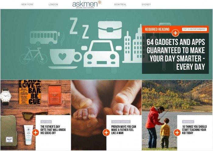 AskMen Screenshot Of Homepage