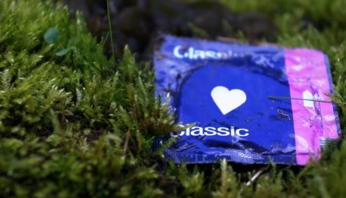 condom on moss