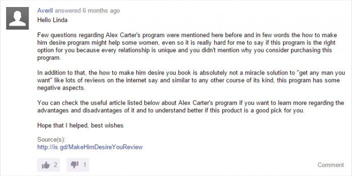 Answer from Yahoo on program from Alex Carter