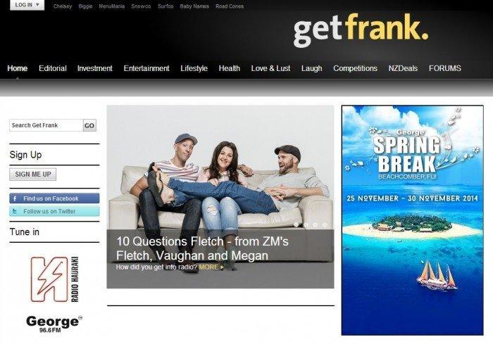 homepage of Get Frank