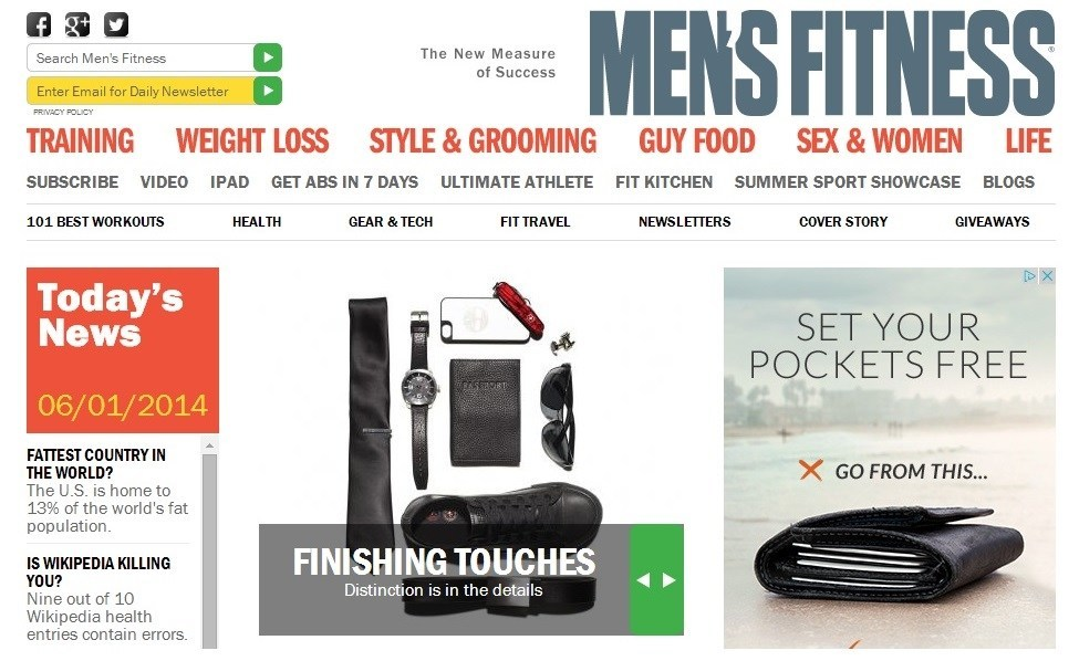 image of Mens Fitness website