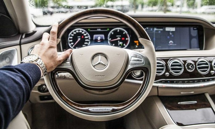 steering wheel in luxurious car