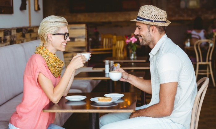 couple talking on coffee