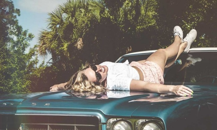 sexy woman on car
