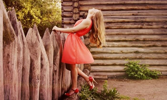 russian woman in dress