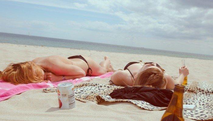 sunbathing on beach