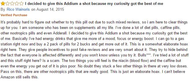 Amazon feedback on Addium pills 3
