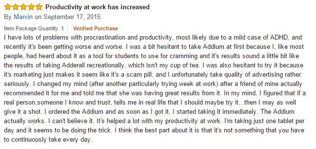 Amazon feedback on Addium pills