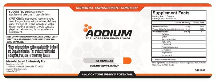 addium bottle label