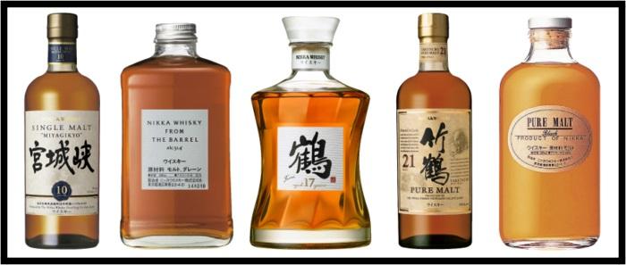 NIKKA whisky bottles