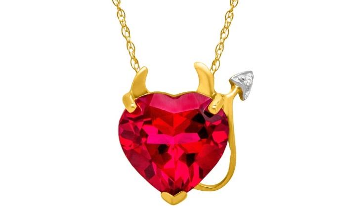 Ruby heart pendant