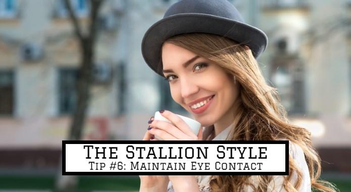 woman keeping eye contact
