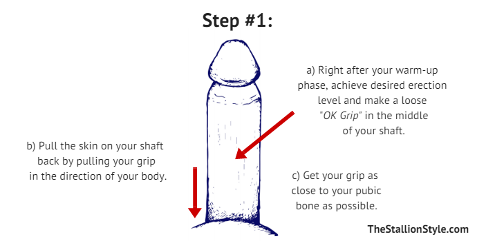 Dry Jelq Step 1