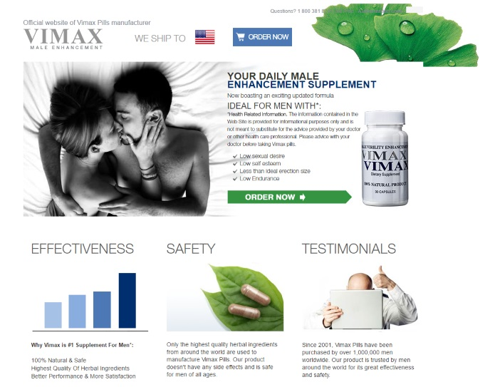 vimax website screenshot