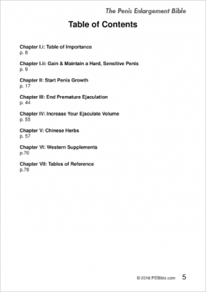 PEB table of contents